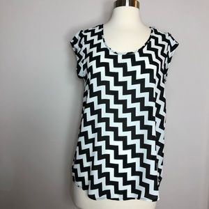 Francesca's Sheer Black and White Top Sz M